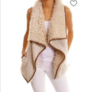 Love Tree faux fur leather trimmed vest